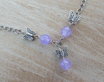 "Alexandrite purple ""Butterfly"" necklace with long"