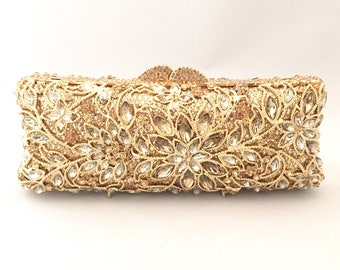 Gold Crystal Bridal Wedding Clutch, Party Bag, Prom Clutch, Formal Event, Evening Clutch Bag