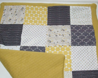 Mustard and gray baby patchwork blanket