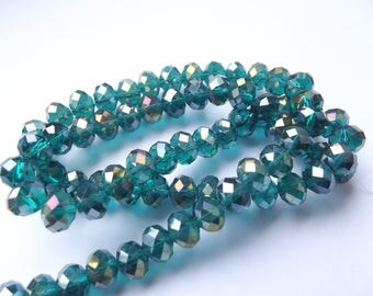 70 Emerald faceted Crystal rondelles 6 x 8 mm REIA 417