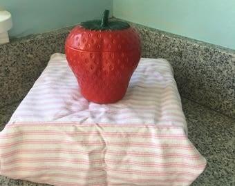 Strawberry White Milk Glass Jar