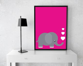 Pink Elephant Love Printable: Digital Prints 300DPI High Resolution