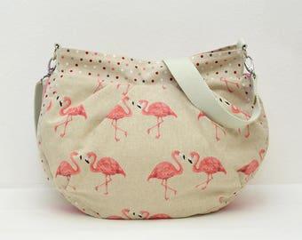 Shoulder bag, Hobo bag, handbag, shoulder bag, cloth bag, Flamingo, linen look, canvas