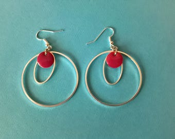 Earrings silver and Red