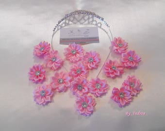 Small applique fabric flowers in light pink satin with Rhinestones.