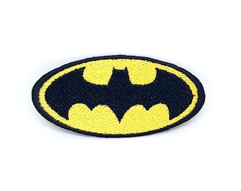 52# Batman Logo comic Black on yellow Iron/Sew On Embroidered Patch