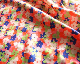 Japanese floral printed cotton sateen type Liberty orange 110 * 50 cm