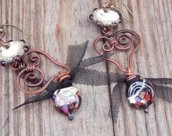 Small copper heart earrings