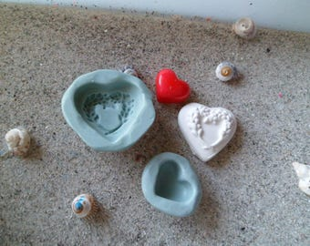 silicone molds heart has lavender and small heart for fimo wepam plaster
