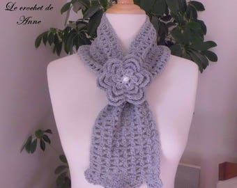 Grey scarf slide, adorned with a flower brooch!