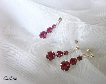 Set necklace earrings set silver plated Fuchsia Swarovski Crystal rhinestone
