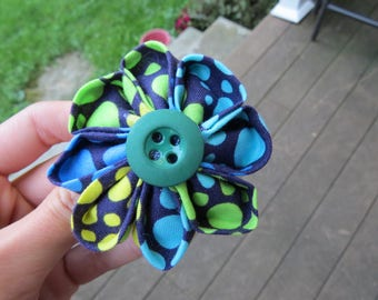 Cute Blue Green Polka Dot Fabric Flower Hair Clip Hair Pin