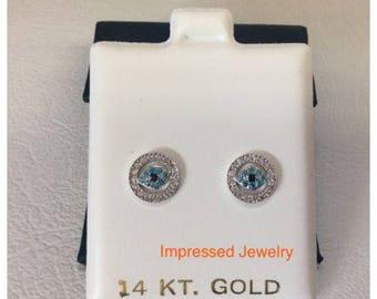 14K White real Gold EVIL Eye CZ stud Women Children earings Screwback safe