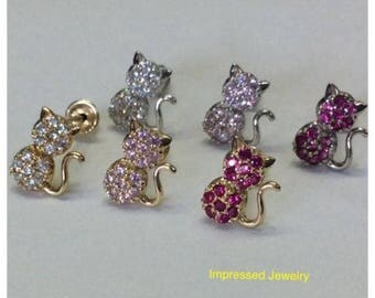 14K Yellow/White real Gold women girls Micro Pave Cat kitty color CZ Screw Back Stud Earrings