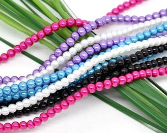 50 beads 4mm glass Pearl 5 assorted colors Mix Lot M02426