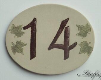 Door number, original oval shape, number 14 deco Ivy leaves