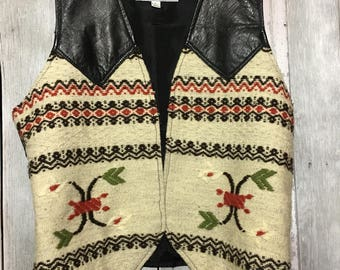 Vintage Leather and Wool Ladies Vest Size Large