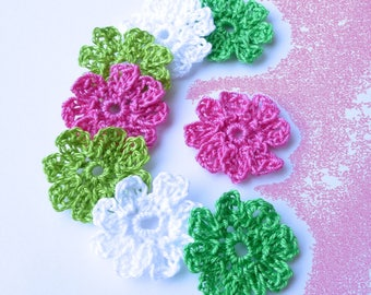 Crochet flowers 8 fuchsia, green and white cotton