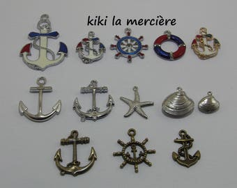 charms, pendants, marine theme, anchors, seashells, stars, rudder, buoys lot of 13 pieces