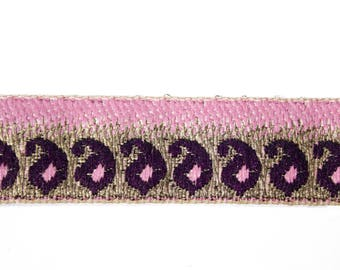 Pink plum 1.9 cm x 1 m gold Jacquard Ribbon