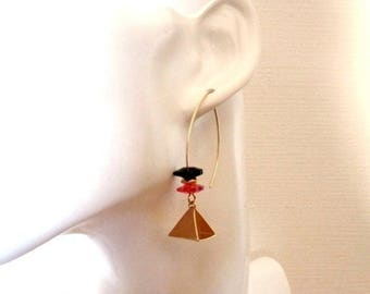 Minimalist earrings, gold plated pyramid petals red and black crystal spacer beads gold plated