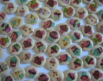 10 FANCY CUPCAKE CAKE ASSORTED WOOD BUTTONS / / 15 MM / / SET 2