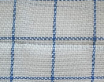 Canvas embroidery 45 x 24 cm 9 linen threads Zweigart white tiles Blues