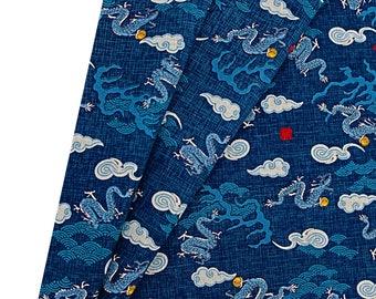 Fabric Japanese dragon - dark blue fabric - fabric 50x50cm - Ref: TU8