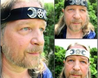 Crescent Moon Pentacle Headpiece, Triple Goddess Leather Headband, Mens Headband, Unisex