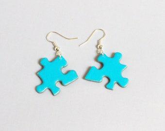 Earrings light blue puzzle pieces