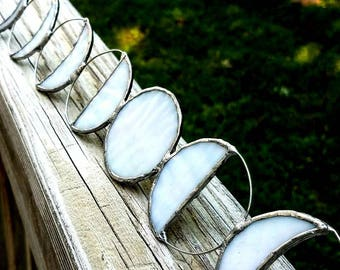 Stained Glass Moon Phases, Lunar Phases wall window hanging - MADE TO ORDER