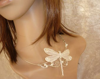 Dragonfly embroidered on silver plated wire bridal necklace