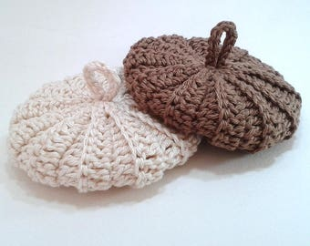 Duo tawashis cotton 9 cm ecru Brown glossy