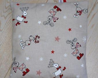 Christmas pillow cover in linen, reindeer, stars
