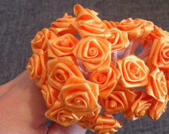 Promotion set of 72 small 1 cm satin flowers orange