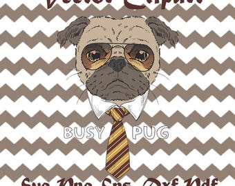 Pug SVG, Funny Dog Pug, SVG Vector Art File, Cute Humorous Pug, DXF Png Pdf Eps vector clip art