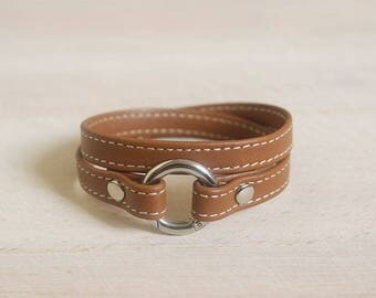 Bracelet Brown cognac stitched leather - stainless steel clasp - women leather bracelet