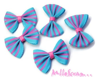 Set of 5 fabric striped bows blue, pink scrapbooking embellishment *.