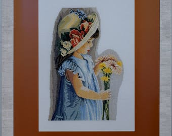 """Embroidery picture """"Girl with straw hat"""""""