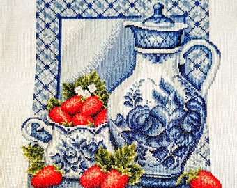 """Embroidery """"Jug with strawberries"""""""