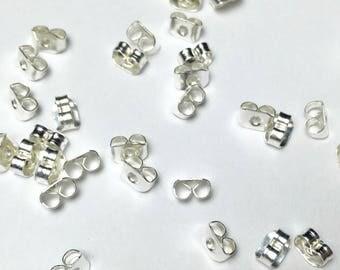 50 PCs color Silver 3 * 5mm - back earrings