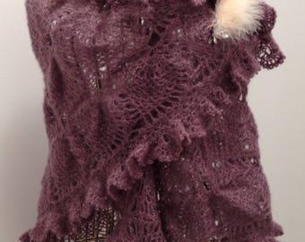 Heather yarn mohair/silk shawl/scarf