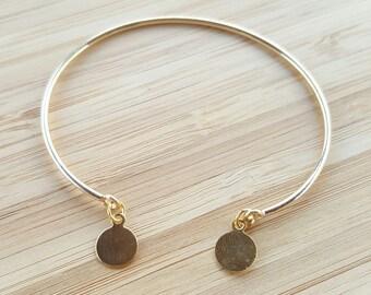 Bracelet jonc fin doré à pampilles rondes // métal doré