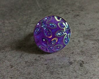silver ring 20mm round purple