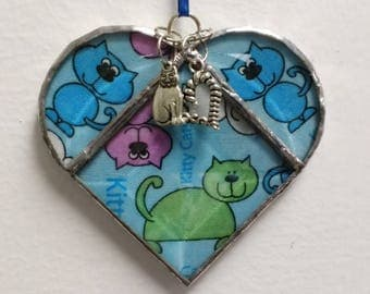 Stained Glass Heart Kitty Cat ~ Two-Sided ~ 3.5  Inches with Cat and Heart Charms