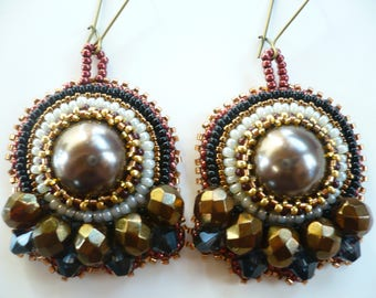 Brown Stud Earrings, embroidered earrings, Maroon, gold and baroque style, beading.