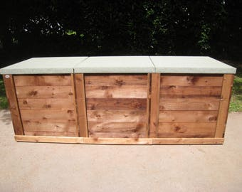 compost bin triple sturdy wooden composting front boards