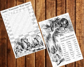Alice in Wonderland Bridal Shower-Baby Shower-Birthday party Game Word Search - Mad Hatter