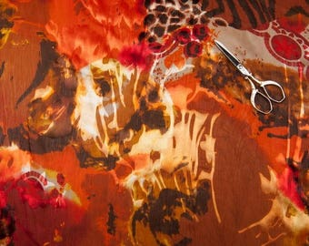 Red printed devoured chiffon fabric