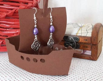 Purple Pearl drop earrings and charm tracery
